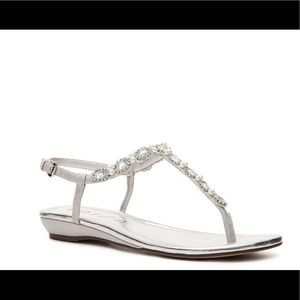 Silver Sandals with Jewel Accents from Unisa